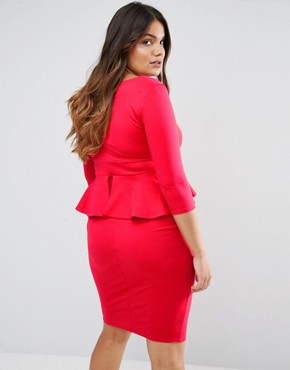 photo Pencil Dress with Peplum by Goddiva Plus, color Red - Image 2