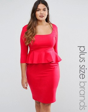 photo Pencil Dress with Peplum by Goddiva Plus, color Red - Image 1