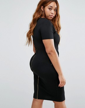 photo Pencil Dress with Zip Detail by Goddiva Plus, color Black - Image 2