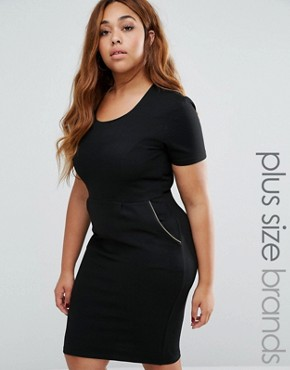 photo Pencil Dress with Zip Detail by Goddiva Plus, color Black - Image 1