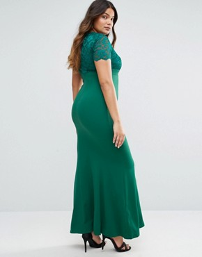 photo Maxi Dress with Lace Sleeves by Goddiva Plus, color Green - Image 2