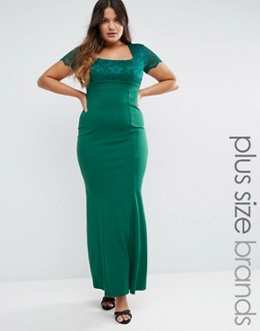 photo Maxi Dress with Lace Sleeves by Goddiva Plus, color Green - Image 1