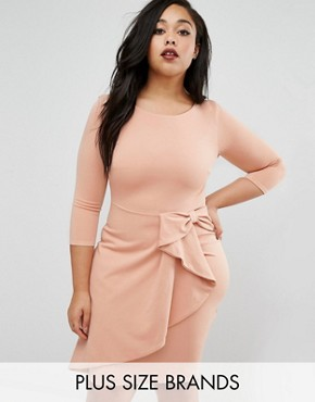 photo Pencil Dress with Frill Detail by Goddiva Plus, color Nude - Image 1