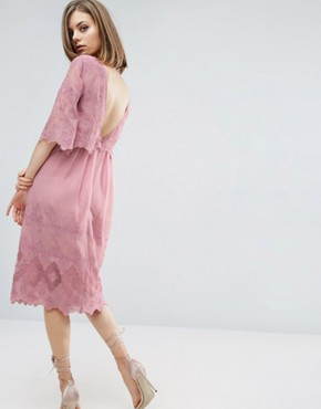 photo Double Layer Pretty Embroidered Dress by ASOS PREMIUM, color Pink - Image 2