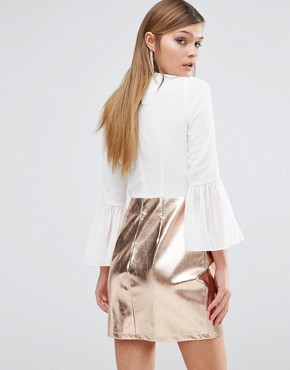 photo Deep Plunge Dress with Metallic Skirt by Rare London, color White/Gold - Image 2