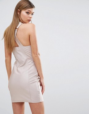 photo Hardware Strap Mini Dress by Rare London, color Dusky Pink - Image 2