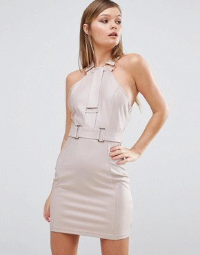 photo Hardware Strap Mini Dress by Rare London, color Dusky Pink - Image 1