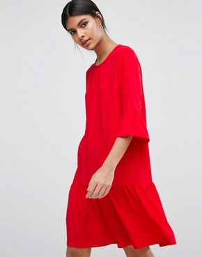 photo Dress with Frill Hem by Y.A.S, color Red - Image 1