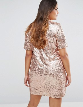 photo All Over Embellished Cap Sleeve Dress by Truly You, color Rose Gold - Image 2