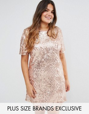 photo All Over Embellished Cap Sleeve Dress by Truly You, color Rose Gold - Image 1