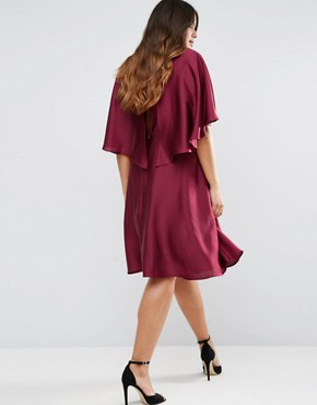 photo Satin Dress with Keyhole Cape Back Detail by Truly You, color Burgundy - Image 2
