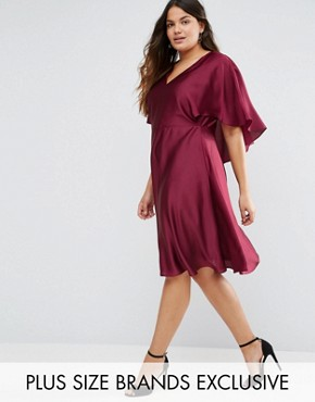 photo Satin Dress with Keyhole Cape Back Detail by Truly You, color Burgundy - Image 1