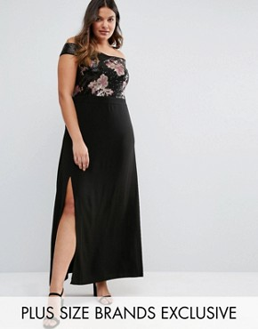 photo Sequin Embellished Floral Bardot Maxi Dress by Truly You, color Black - Image 1
