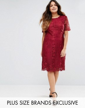 photo Premium Lace Overlay Shift Dress by Truly You, color Burgundy - Image 1