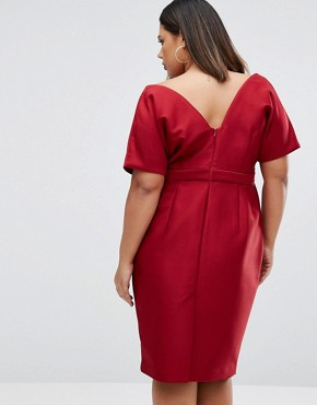 photo Wiggle Dress with Wrap Front and Seam Detail by ASOS CURVE, color Red - Image 2