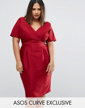 photo Wiggle Dress with Wrap Front and Seam Detail by ASOS CURVE, color Red - Image 1