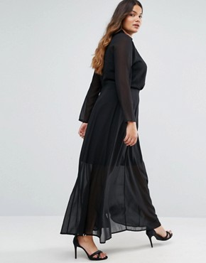 photo Long Sleeve Maxi Dress with Collar Detail by Truly You, color Black - Image 2