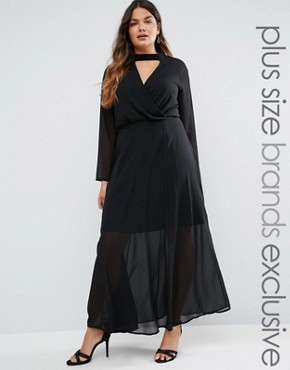 photo Long Sleeve Maxi Dress with Collar Detail by Truly You, color Black - Image 1