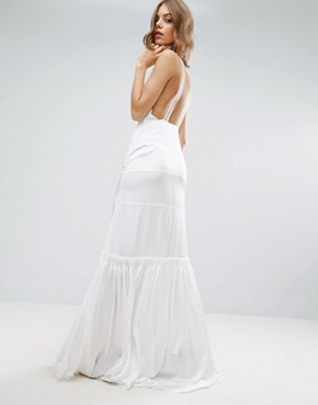 photo Cami Maxi Dress with Concertina Folding by ASOS BRIDAL, color White - Image 2