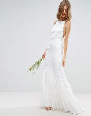 photo Cami Maxi Dress with Concertina Folding by ASOS BRIDAL, color White - Image 1