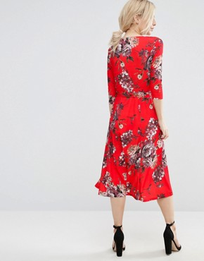 photo Crepe Midi Dress in Floral Print by ASOS PETITE, color  - Image 2