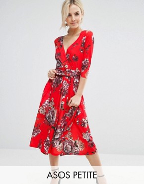 photo Crepe Midi Dress in Floral Print by ASOS PETITE, color  - Image 1