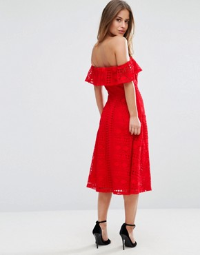 photo Lace Off Shoulder Midi Dress by ASOS PETITE, color Red - Image 2