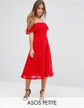 photo Lace Off Shoulder Midi Dress by ASOS PETITE, color Red - Image 1