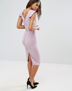 photo V Front V Back Textured Pencil Dress by ASOS TALL, color Lilac - Image 2