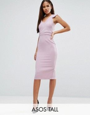photo V Front V Back Textured Pencil Dress by ASOS TALL, color Lilac - Image 1