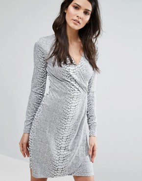 photo Snake Jacquard Dress by French Connection, color Silver - Image 1