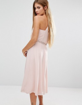 photo Cecil Asymmetric Drape Midi Dress by French Connection, color Apricot Spritz - Image 2