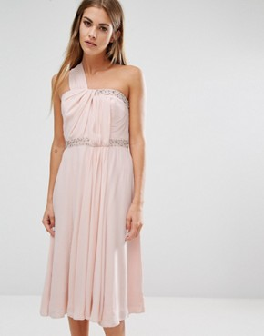 photo Cecil Asymmetric Drape Midi Dress by French Connection, color Apricot Spritz - Image 1