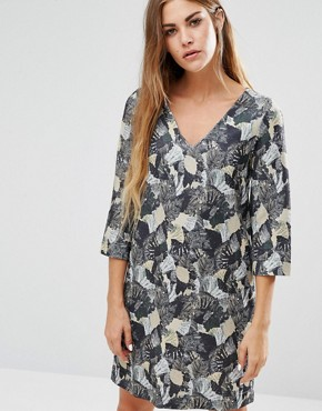 photo Lalapalm Printed Tunic Dress by French Connection, color Tribal Green Mlti - Image 1