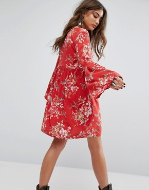 photo Floral Babydoll Printed Dress by Denim & Supply by Ralph Lauren, color Red - Image 2