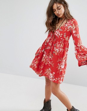 photo Floral Babydoll Printed Dress by Denim & Supply by Ralph Lauren, color Red - Image 1