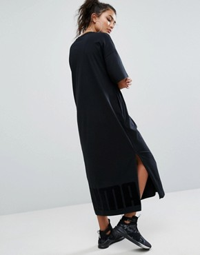 photo T-Shirt Maxi Dress In Black by Puma, color Puma Black - Image 1
