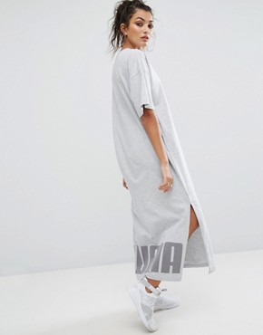 photo T-Shirt Maxi Dress In Grey by Puma, color Light Grey Heather - Image 1