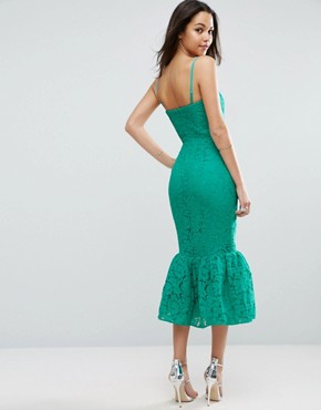 photo Bandeau Lace Trumpet Hem Midi Dress by ASOS, color Green - Image 2