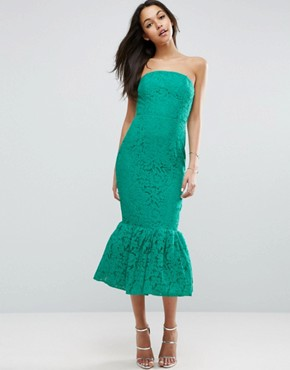 photo Bandeau Lace Trumpet Hem Midi Dress by ASOS, color Green - Image 1