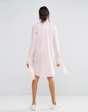 photo Cotton Shirt Dress with Oversized Cuff & Bow Detail by ASOS TALL, color Pink - Image 2