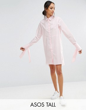 photo Cotton Shirt Dress with Oversized Cuff & Bow Detail by ASOS TALL, color Pink - Image 1