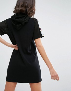 photo Relaxed Hooded T-Shirt Dress with Tape Detail by Fila, color Black - Image 2