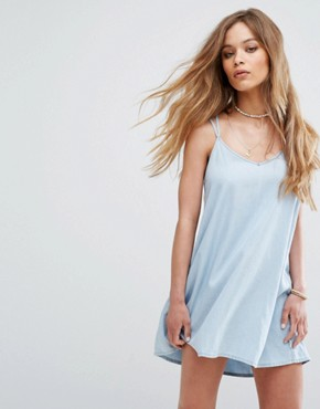 photo Cami Dress with Harness Strapping by RVCA, color Chambray - Image 2