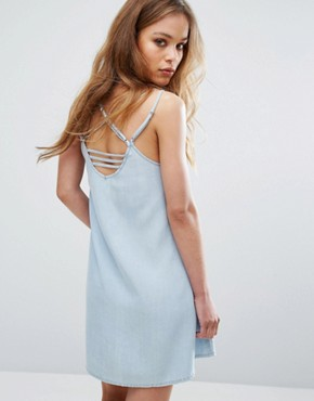 photo Cami Dress with Harness Strapping by RVCA, color Chambray - Image 1