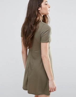 photo Skater Dress With Keyhole Front by Daisy Street, color Khaki - Image 2
