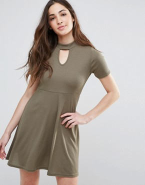 photo Skater Dress With Keyhole Front by Daisy Street, color Khaki - Image 1