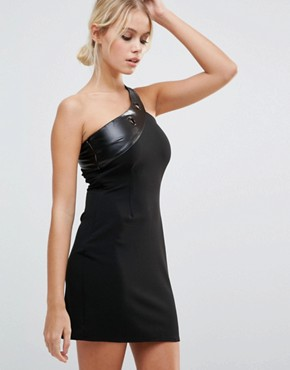photo One Shoulder Bodycon Dress by Daisy Street, color Black - Image 1