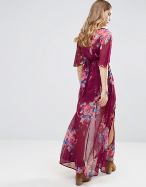 photo Bouquet Maxi Dress by Band of Gypsies, color Burgundy/Teal - Image 2