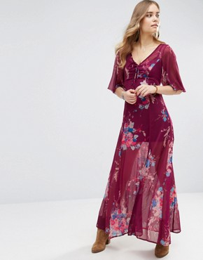 photo Bouquet Maxi Dress by Band of Gypsies, color Burgundy/Teal - Image 1